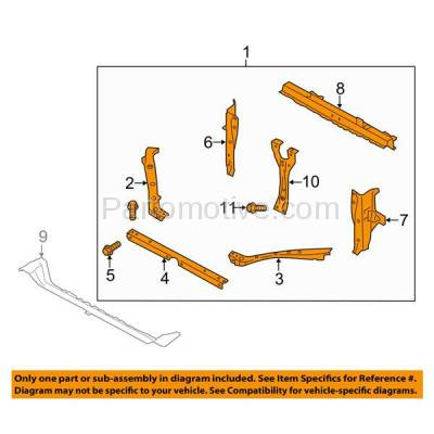 Aftermarket Replacement - RSP-1684 2012-2016 Subaru Impreza & 2013-2015 XV Crosstrek & 2016-2017 Crosstrek Front Center Radiator Support Core Assembly Primed Steel - Image 3