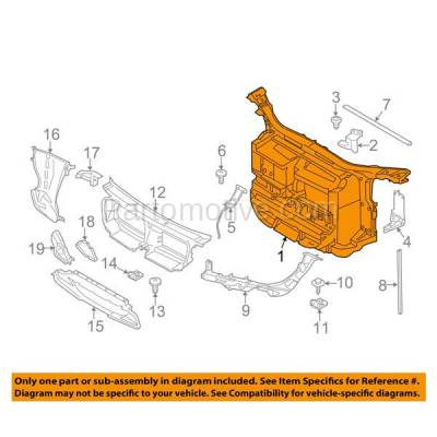 Aftermarket Replacement - RSP-1057 2012-2015 BMW X1 (2.0 & 3.0 Liter Engine) (without M Package) Front Center Radiator Support Core Assembly Primed Made of Plastic & Steel - Image 3