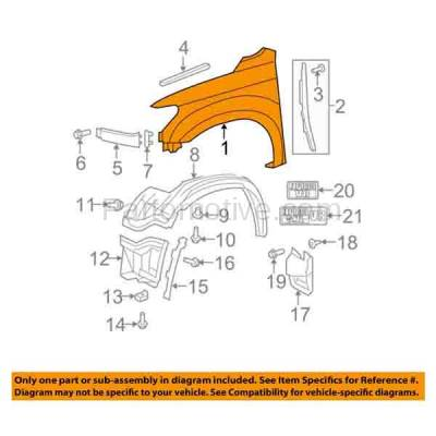 Aftermarket Replacement - FDR-1790L Sequoia & Tundra Front Fender Quarter Panel Driver Side LH TO1240217 538020C170 - Image 3