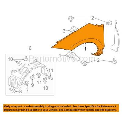 Aftermarket Replacement - FDR-1234R 07-12 Eclipse Front Fender Quarter Panel Right Passenger Side MI1241169 5220B682 - Image 3