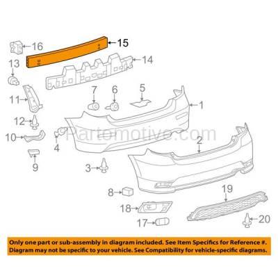 Aftermarket Replacement - BRF-1868RC 2009-2014 Toyota Matrix (Wagon 4-Door) (1.8 & 2.4 Liter Engine) Rear Bumper Impact Face Bar Crossmember Reinforcement Natural Aluminum - Image 3
