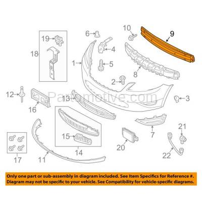 Aftermarket Replacement - BRF-1169FC 2009-2019 Ford Flex, 2009-2016 Lincoln MKS & 2010-2019 Taurus, MKT Front Bumper Impact Face Bar Crossmember Reinforcement Steel - Image 3