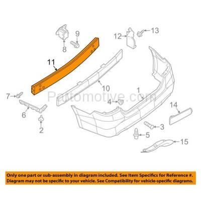 Aftermarket Replacement - BRF-1725RC 2013-2019 Nissan Sentra (1.6 & 1.8 Liter Engine) (Sedan 4-Door) Rear Bumper Impact Face Bar Crossmember Reinforcement Made of Steel - Image 3