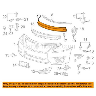 Aftermarket Replacement - BRF-1696FC 2013-2015 Nissan Altima & 2016-2018 Maxima (Sedan 4-Door) Front Bumper Impact Face Bar Crossmember Reinforcement Aluminum - Image 3