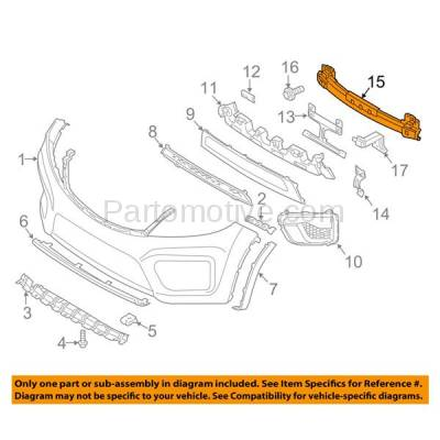 Aftermarket Replacement - BRF-1521FC 2011-2013 Kia Sorento (Models with Sport Package) Front Bumper Impact Face Bar Crossmember Reinforcement Primed Made of Steel - Image 3