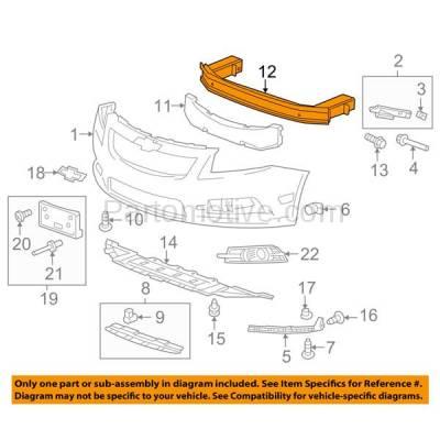 Aftermarket Replacement - BRF-1275FC 2011-2015 Chevrolet Cruze & 2016 Cruze Limited & 2012-2017 Buick Verano Front Bumper Impact Crossmember Reinforcement Aluminum - Image 3