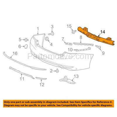 Aftermarket Replacement - BRF-1422RC 2013-2017 Honda Accord (Sedan 4-Door) (except Plug-In or Hybrid) Rear Bumper Impact Face Bar Crossmember Reinforcement Steel - Image 3