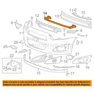 Aftermarket Replacement - BRF-1279FC 2012-2019 Chevrolet Sonic (Hatchback & Sedan 4-Door) Front Lower Bumper Impact Face Bar Crossmember Reinforcement Primed Steel - Image 3
