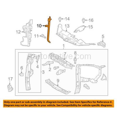 Aftermarket Replacement - RSP-1761 2014-2018 Toyota Highlander (2.7 & 3.5 Liter Engine) Front Radiator Support Center Hood Latch Support Bracket Primed Made of Steel - Image 3