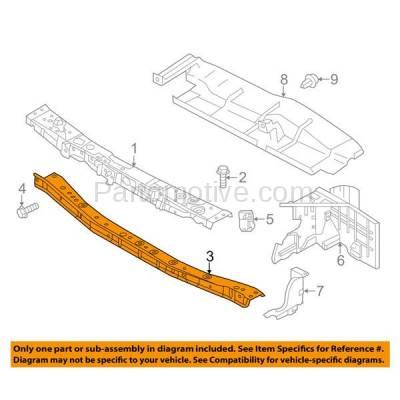 Aftermarket Replacement - RSP-1652 2014-2018 Nissan Versa Note 1.6L (Hatchback) Front Center Radiator Support Lower Crossmember Tie Bar Panel Primed Made of Steel - Image 3
