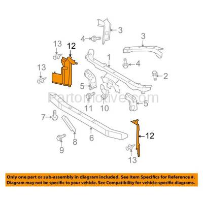 Aftermarket Replacement - RSP-1647L 2007-2012 Nissan Versa (1.6, 1.6 Base, 1.8 S, 1.8 SL, S, SL) Radiator Support Side Air Duct Primed Made of Steel Left Driver Side - Image 3