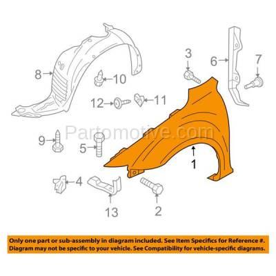 Aftermarket Replacement - FDR-1480R 06-09 Mazda5 Front Fender Quarter Panel Passenger Side RH MA1241158 C23652111C - Image 3