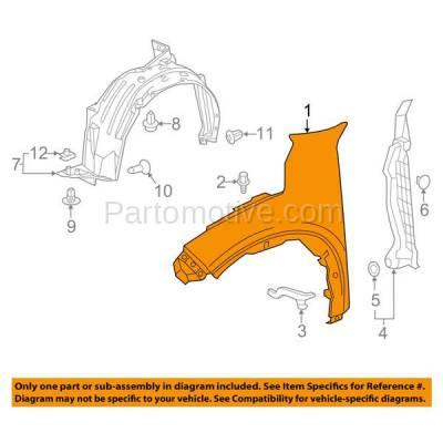 Aftermarket Replacement - FDR-1384R 16-17 HR-V Front Fender Quarter Panel Passenger Side HRV HO1241190 60211T7J305ZZ - Image 3