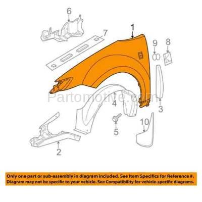 Aftermarket Replacement - FDR-1401R 03-07 Ion Sedan Front Fender Quarter Panel Passenger Side RH GM1241294 22731132 - Image 3