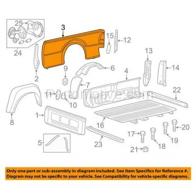 Aftermarket Replacement - FDR-1303L 99-10 F-Series SuperDuty Truck 8' Bed Rear Outer Fender Quarter Panel Left Side - Image 3