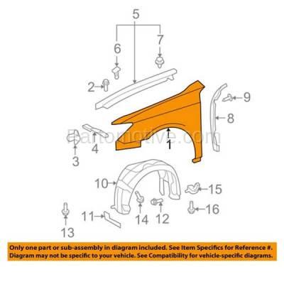 Aftermarket Replacement - FDR-1256R 07-12 ES350 Front Fender Quarter Panel Right Passenger Side LX1241113 5381133180 - Image 3