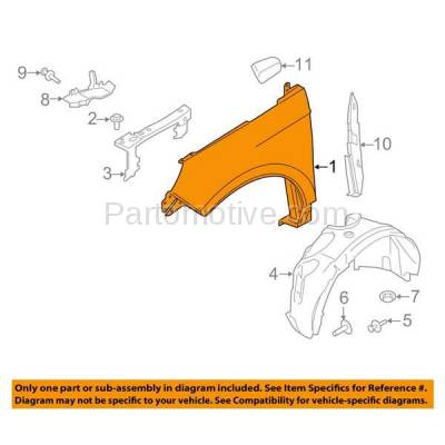 Aftermarket Replacement - FDR-1237R 2015-15 Edge Front Fender Quarter Panel Passenger Side RH FO1241295 FT4Z16005A - Image 3