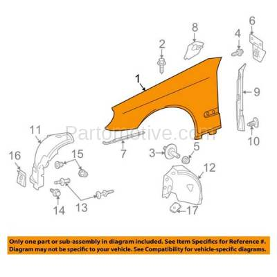 Aftermarket Replacement - FDR-1224L 03-09 E-Class Front Fender Quarter Panel Driver Side LH MB1240131 2118801318-PFM - Image 3