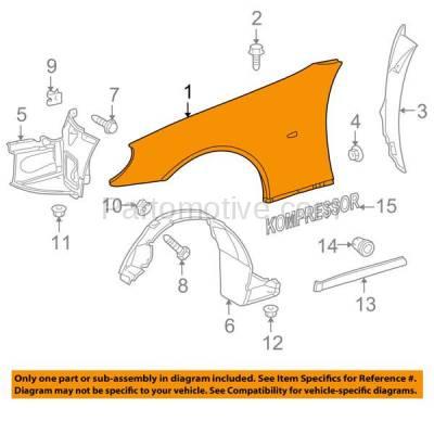 Aftermarket Replacement - FDR-1690R 98-04 SLK-Class Front Fender Quarter Panel Passenger Side MB1241122 1708800206 - Image 3