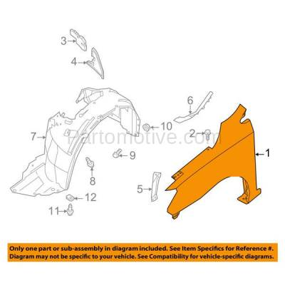 Aftermarket Replacement - FDR-1667R Front Fender Quarter Panel Passenger Side Fits 13-15 Sentra NI1241206 F31003SGAA - Image 3