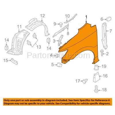 Aftermarket Replacement - FDR-1585R Front Fender Quarter Panel Passenger Side For 11-16 Quest NI1241202 631001JA0B - Image 3