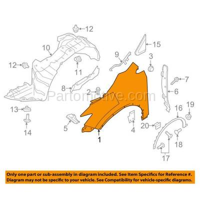 Aftermarket Replacement - FDR-1513L Front Fender Quarter Panel Driver Side LH Fits 15-16 Murano NI1240216 631015AA0A - Image 3