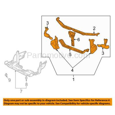 Aftermarket Replacement - RSP-1345 1998-2002 Honda Accord (Coupe & Sedan) (2.3 & 3.0 Liter Engine) Front Center Radiator Support Core Assembly Primed Made of Steel - Image 3