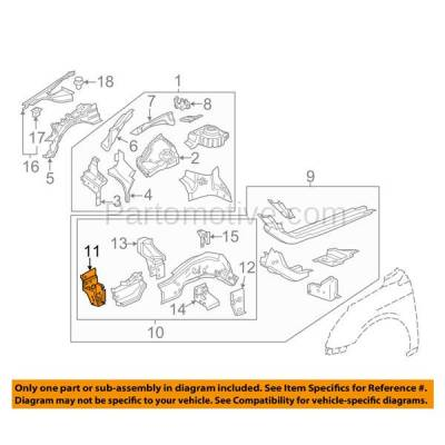 Aftermarket Replacement - RSP-1276L 2010-2016 Buick LaCrosse & 2011-2017 Regal & 2013-2018 Cadillac XTS & 2014-2019 Chevy Impala Radiator Support Bracket Driver Side - Image 3
