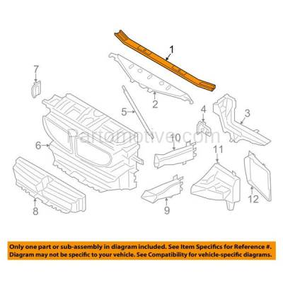 Aftermarket Replacement - RSP-1049 2011-2016 BMW 5-Series & 2012-2018 BMW 6-Series (2.0 & 3.0 & 4.4 Liter) Radiator Support Core Upper Tie Bar Assembly Primed Made of Steel - Image 3