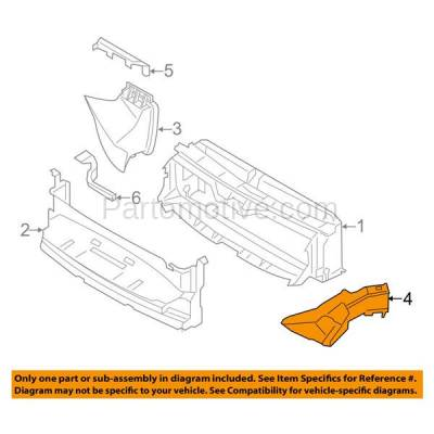 Aftermarket Replacement - RSP-1043R 14-18 4-Series Front Lower Radiator Support Air Intake Duct Insert Plastic Right Passenger Side - Image 3