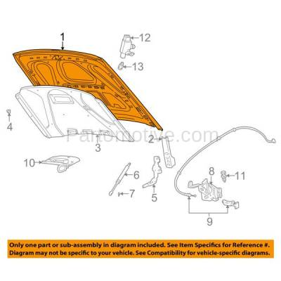 Aftermarket Replacement - HDD-1162 1998-2011 Ford Crown Victoria & Mercury Grand Marquis Sedan 4-Door (4.6 Liter V8 Engine) Front Hood Panel Assembly Primed Steel - Image 3
