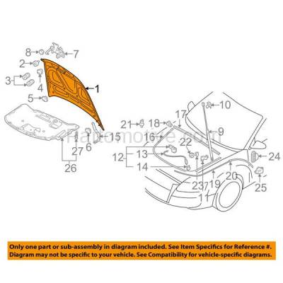 Aftermarket Replacement - HDD-1029 2007-2011 Audi A6/A6 Quattro/S6 (Sedan & Wagon 4-Door) Front Hood Panel Assembly Primed Steel - Image 3