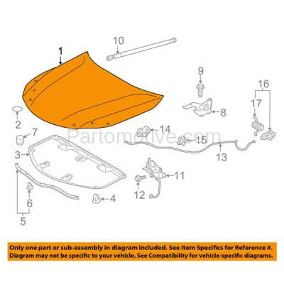Aftermarket Replacement - HDD-1721 2013-2018 Toyota Avalon (Hybrid, Limited, Touring, XLE) Sedan 4-Door (2.5 & 3.5 Liter Engine) Front Hood Panel Assembly Primed Steel - Image 3