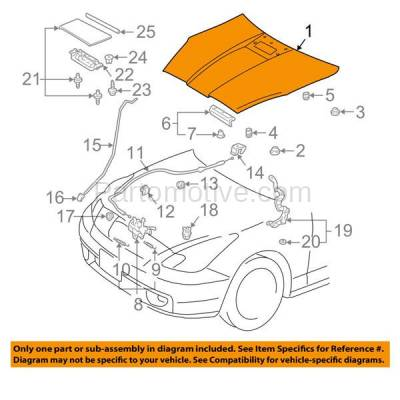 Aftermarket Replacement - HDD-1689 2000-2005 Toyota Celica (GT, GTS) Hatchback 2-Door (1.8 Liter Engine) Front Hood Panel Assembly Primed Steel with Scoop Provision - Image 3
