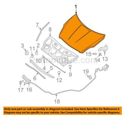 Aftermarket Replacement - HDD-1587 2010-2012 Nissan Altima Sedan & 2010-2013 Altima Coupe (Base, Hybrid, S, SL, SR) Front Hood Panel Assembly Primed Aluminum - Image 3