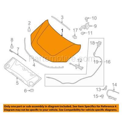 Aftermarket Replacement - HDD-1596 2013-2016 Nissan Pathfinder (Platinum, S, SL, SV & Hybrid) (2.5 & 3.5 Liter Engine) Front Hood Panel Assembly Primed Aluminum - Image 3