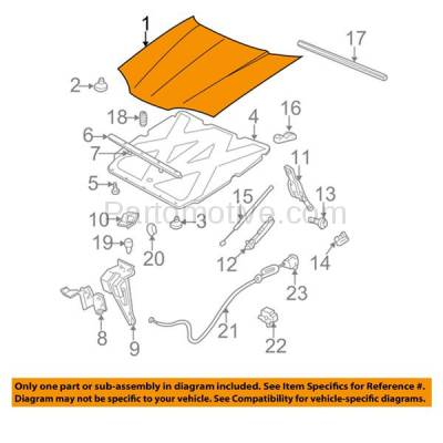 Aftermarket Replacement - HDD-1234 2000-2005 Chevy Impala (Base, LS, SS) Sedan 4-Door (3.4 & 3.8 Liter V6 Engine) Front Hood Panel Assembly Primed Steel - Image 3