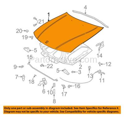 Aftermarket Replacement - HDD-1256 2003-2005 Saturn L-Series (L200, L300, LW200, LW300) 2.2L & 3.0L (Sedan & Wagon 4-Door) Front Hood Panel Assembly Primed Steel - Image 3