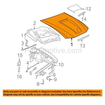 Aftermarket Replacement - HDD-1170 2001-2004 Ford Mustang V6/V8 (Convertible & Coupe 2-Door) (with 11 Mounting Pegs) Front Hood Panel Assembly Primed Fiberglass For Models with Scoop - Image 3