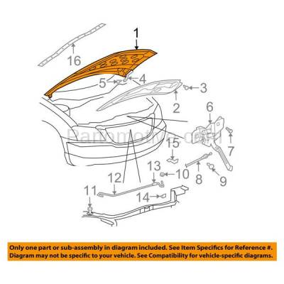 Aftermarket Replacement - HDD-1096 2004 2005 2006 Chrysler Pacifica (Base, Limited, Touring) Sport Utility 4-Door V6 Front Hood Panel Assembly Primed Steel - Image 3