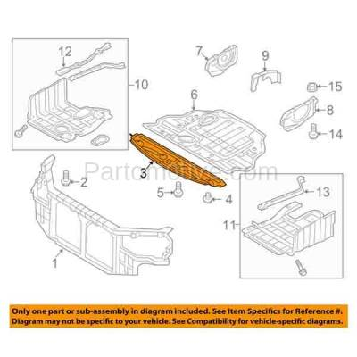 Aftermarket Replacement - ESS-1286C CAPA For Front Engine Splash Shield Under Cover Undecar Guard For 11-14 Sonata - Image 3