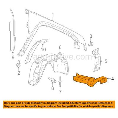 Aftermarket Replacement - FDS-1007RC CAPA For 05-10 GR Cherokee Front Fender Brace Support Bracket Passenger Side - Image 3