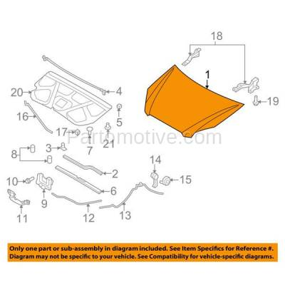 Aftermarket Replacement - HDD-1442 2007-2012 Kia Rondo (EX, EX Luxury, EX Premium, LX) Wagon 4-Door (2.4 & 2.7 Liter Engine) Front Hood Panel Assembly Primed Steel - Image 3