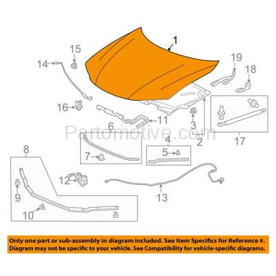 Aftermarket Replacement - HDD-1375 2013-2017 Honda Accord (EX-L, Touring) 3.5 Liter V6 Engine (Coupe 2-Door) Front Hood Panel Assembly Primed Steel - Image 3