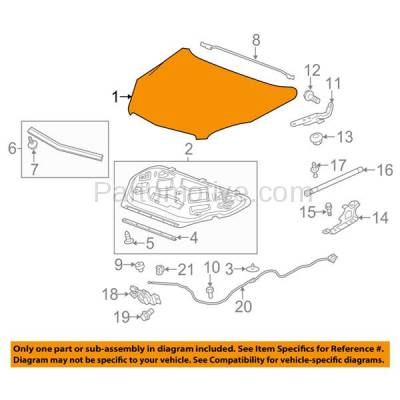 Aftermarket Replacement - HDD-1306 2010-2017 Chevy Equinox (L, LS, LT, LTZ, Premier) Sport Utility 4-Door (2.4 & 3.0 & 3.6 Liter Engine) Front Hood Panel Assembly Primed Steel - Image 3