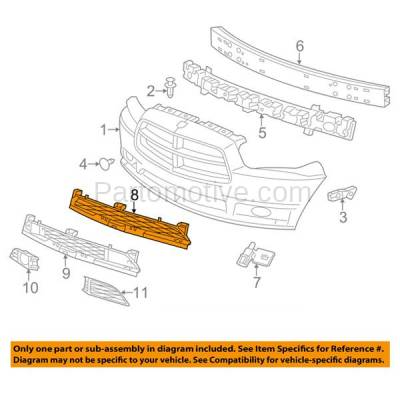 Aftermarket Replacement - GRL-1213C CAPA 11-14 Charger Lower Front Bumper Insert Face Bar Grill Grille CH1036113 - Image 3