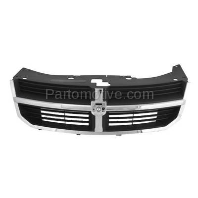 Aftermarket Replacement - GRL-1321C CAPA 08 09 10 Avenger Front Grill Grille Black Insert Chrome Shell YW351XXAB - Image 1