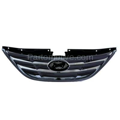 Aftermarket Replacement - GRL-1910C CAPA Front Grill Grille Chrome-Shell HY1200154 863503S100 Fits 11-13 Sonata - Image 1