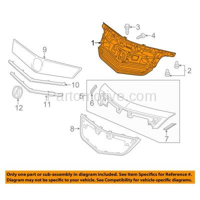 Aftermarket Replacement - GRL-1179C CAPA 12-14 Acura TL Front Grill Grille Mounting Panel AC1223100 75101TK4A11 - Image 3