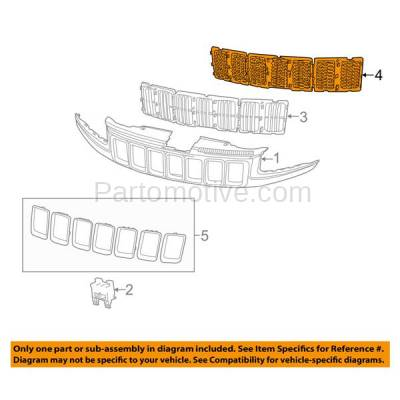 Aftermarket Replacement - GRL-1347C CAPA 14-15 Grand Cherokee Front Grill Grille Insert 3-Piece SET 68143074AD - Image 3